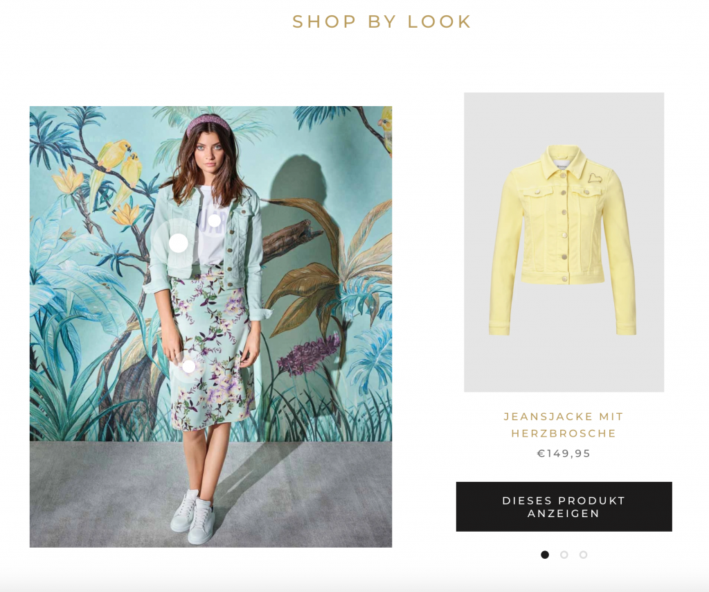 Shopify: Rich & Royal, Shop the Look Funktion auf der Startseite
