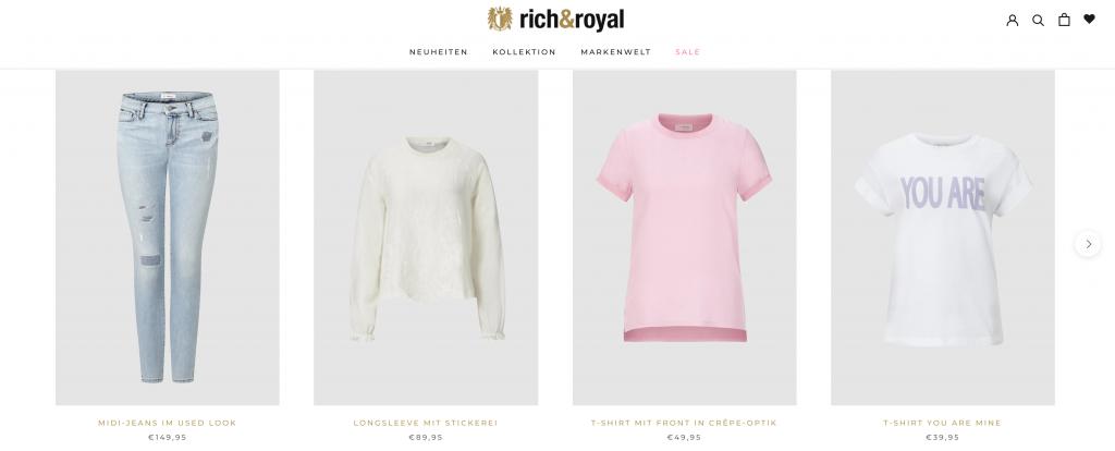 Shopify: Rich & Royal, mehr Raum für Produktbilder