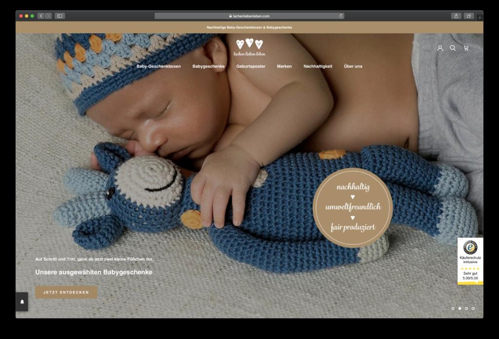 Nachhaltige Babygeschenke von lachenliebenleben.com - realisiert mit Shopify.