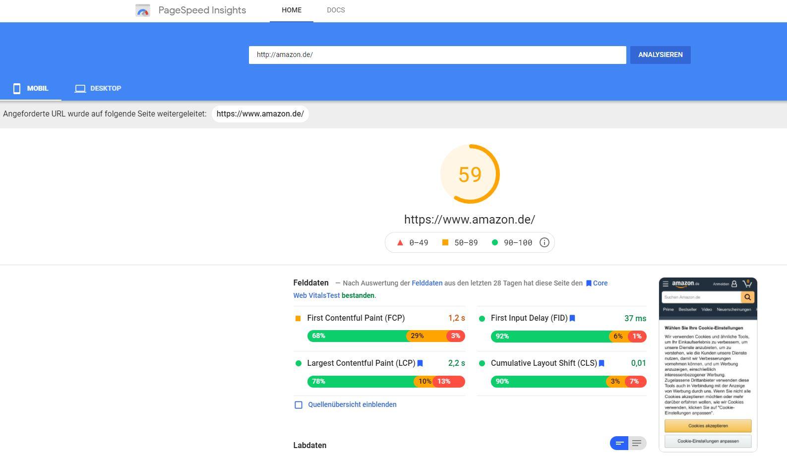 Amazon Google Page Speed Insights Test