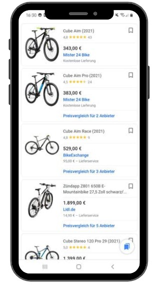 Google Shopping Ergebnisse